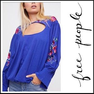 🆕FREE PEOPLE LITA FLORAL EMBROIDERED BLOUSE (SzM